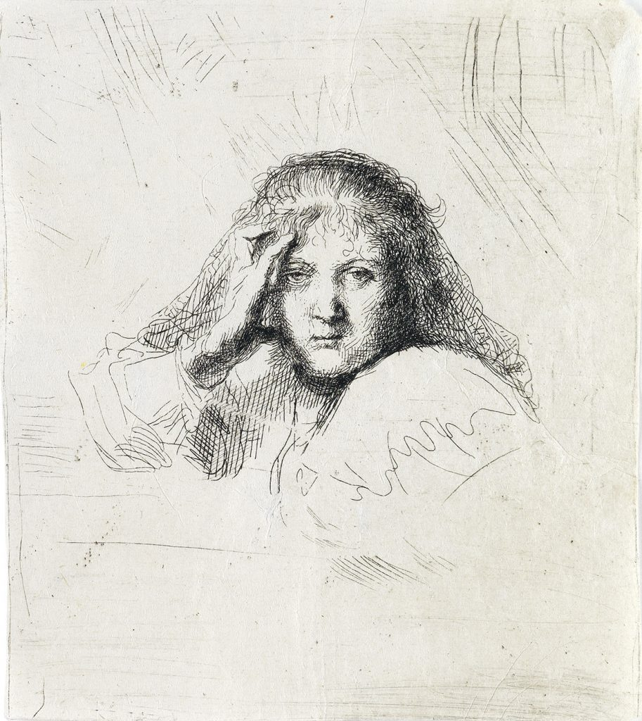Lot 95, Head of Saskia (Three Heads of Women, One Lightly Etched), etching of a woman by Rembrandt