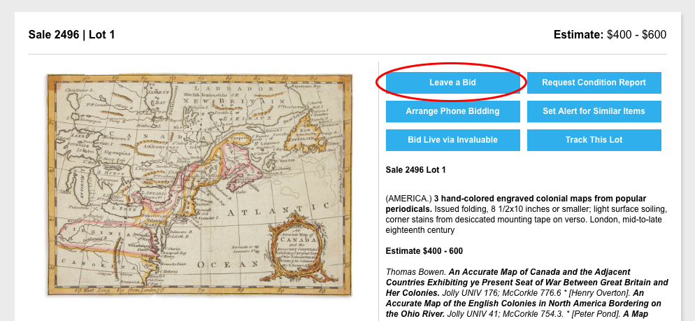 Screenshot of a lot view page and the location of the Leave a Bid button, which is just below the image.