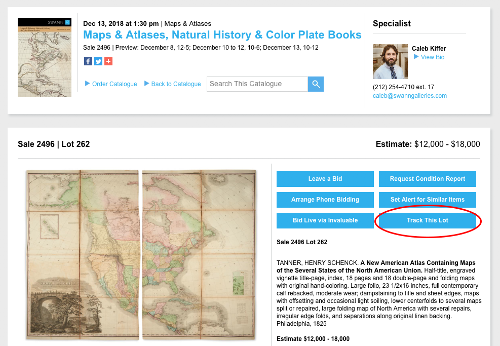 "The ""Track This Lot"" button is located on singular lot view pages, within our online catalogues."