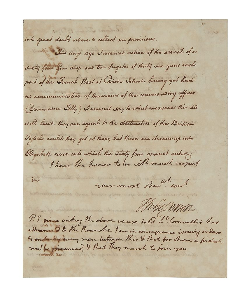A signed letter from Thomas Jefferson sending troops to Major-General Nathanael Greene during the American Revolutionary War.