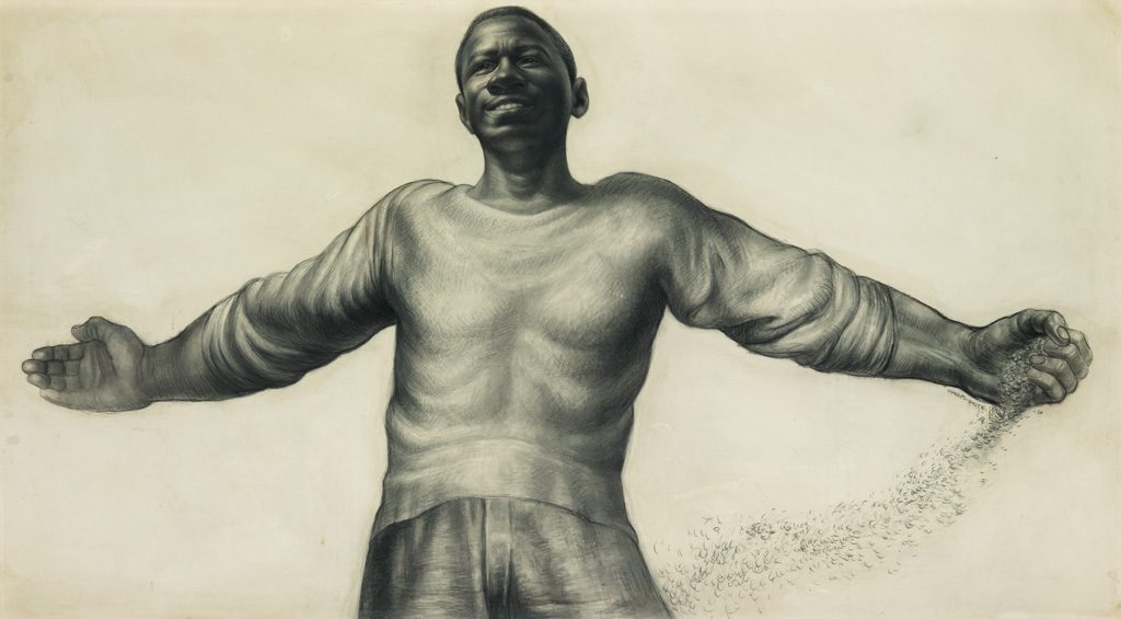 A charcoal drawing by Charles White of young black man with his arms spread open wide smiling.