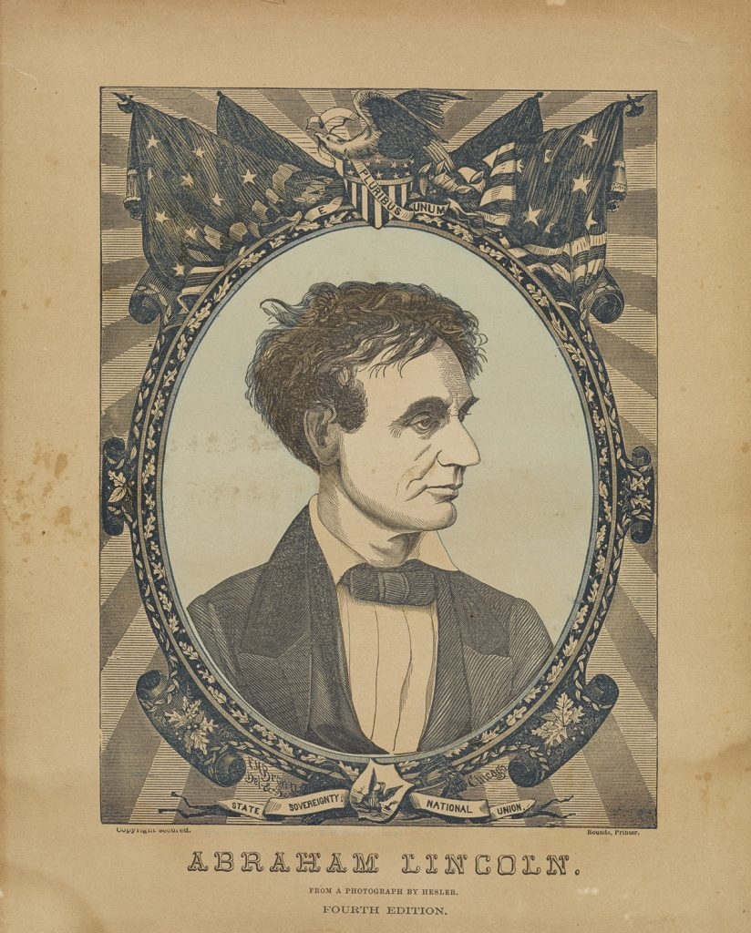 Blue tinted print of Abraham Lincoln