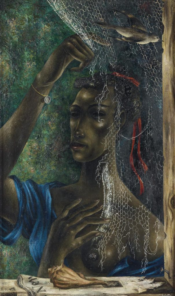 A painting by Eldzier Cortor of a young black woman peering through a fishing net being used as a curtain in a window.