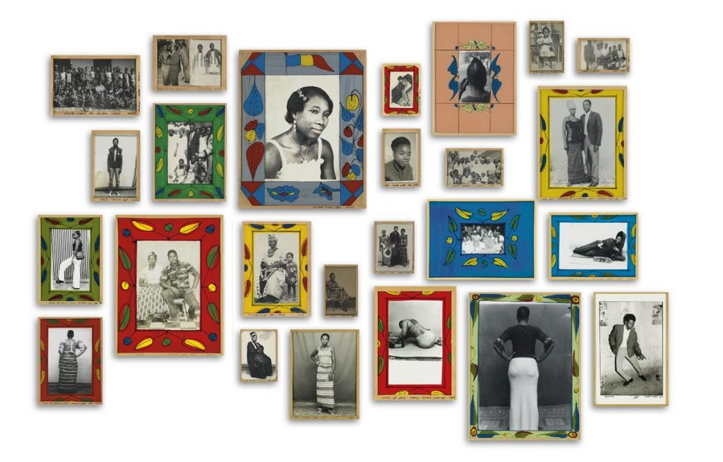 A compilation of Malich Sidibé's 25 photographs of the people of Bamako, Mali all in colorful frames.