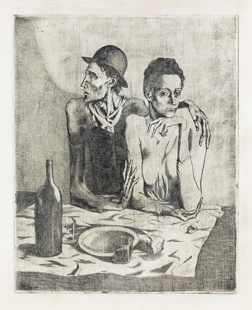 Etching by Pablo Picasso of a young couple sitting down to eat.