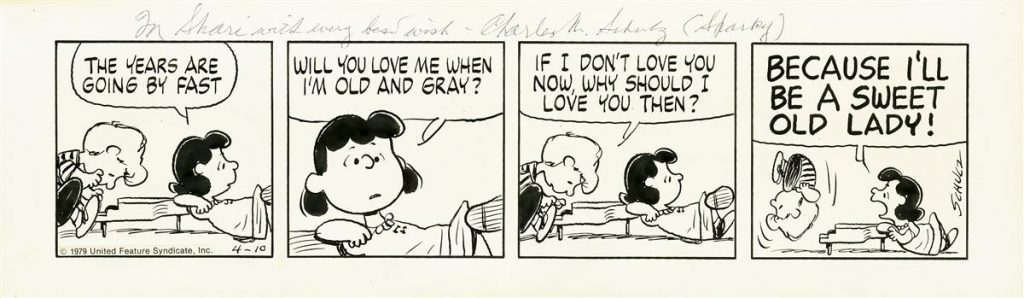 "Lot 246, ""Peanuts"" comic strip featuring Schroeder playing the piano and Lucy yelling at him."