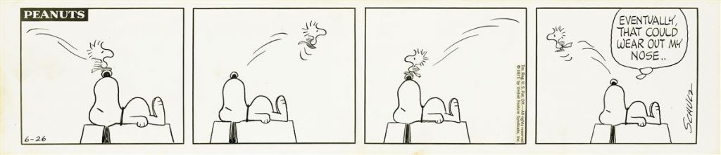 "Lot 248, ""Peanuts"" comic strip featuring Snoopy atop his doghouse with Woodstock bouncing back and forth on his nose."