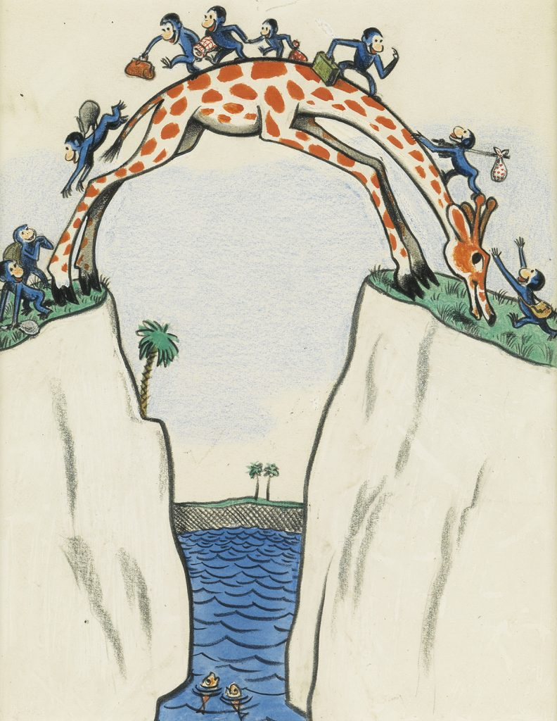 "Lot 40, an image from H.A. Rey's book ""Cecily G. and the 9 Monkeys"" featuring the monkeys using a giraffe as a bridge to get from one side to the other."