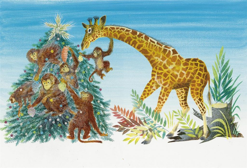 "Lot 65, illustration by Leonard Weisgard for ""The Golden Christmas Tree"" featuring six monkeys decorating a christmas tree while the giraffe helps place the star on top."