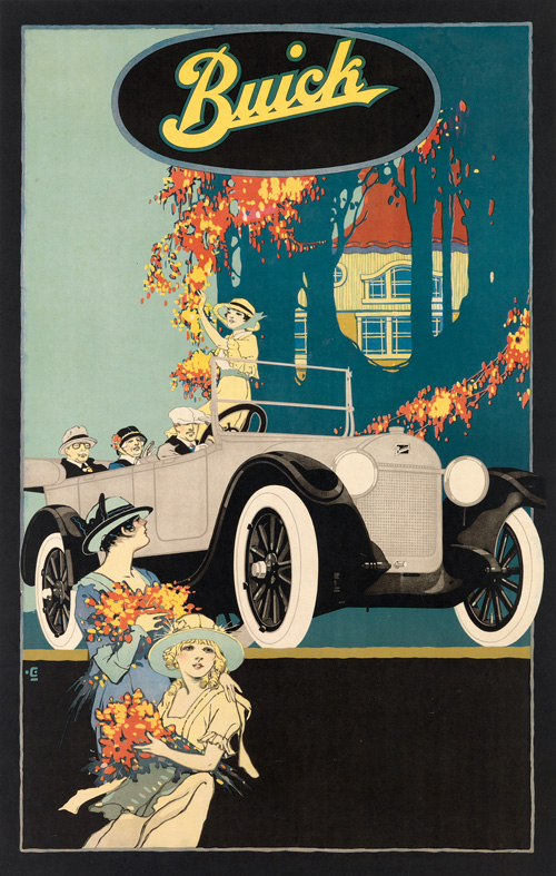 car advertisement vintage poster
