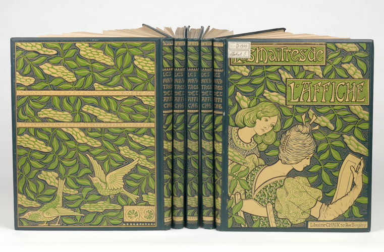 Five volumes of Les Maîtres de L'Affiche grouped together, green Art Nouveau covers.
