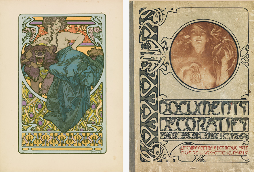Two plates from Alphonse Mucha's nouveau portfolio Documents Décoratifs