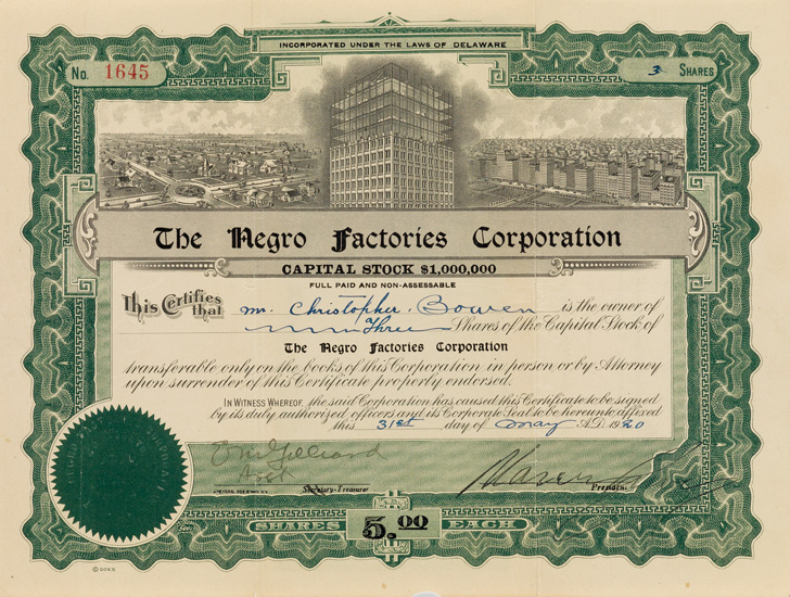 engraved document signed for 3 shares