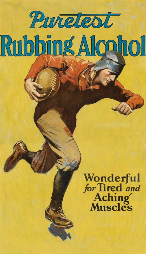 vintage poster for rubbing alcohol featuring a football player