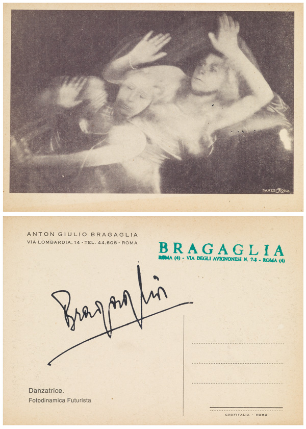 front and back of a postcard by Bragaglia