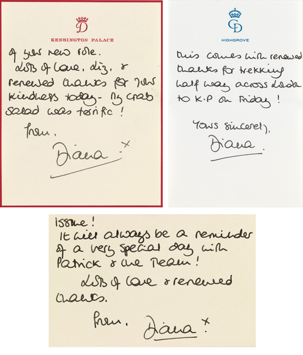 three letters by Diana, Princess of Wales
