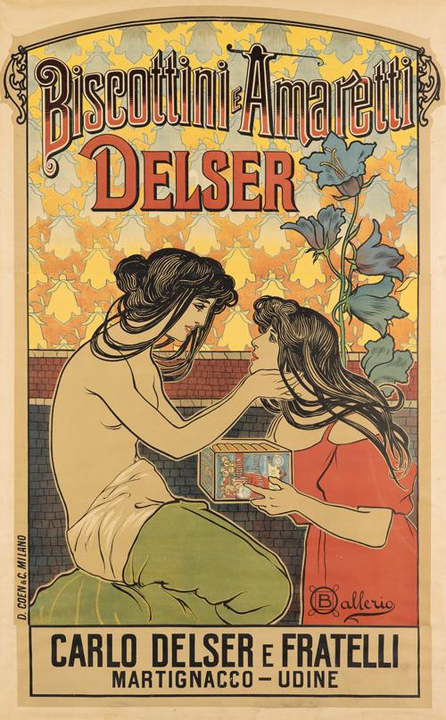 Art Nouveau poster for Biscottini Amaretti Delser company, two women embracing