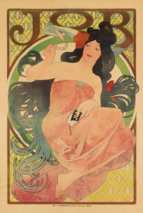 Alphonse Mucha's art nouveau poster for Job cigarettes