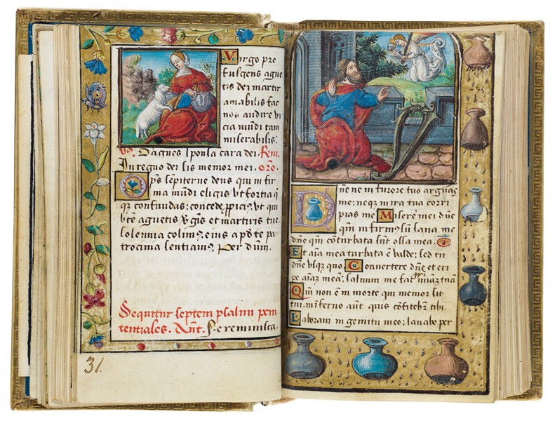layout from the illuminated manuscript featuring two biblical scenes