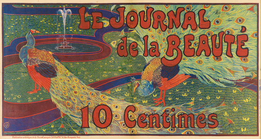 image of an art nouveau poster featuring a peacock