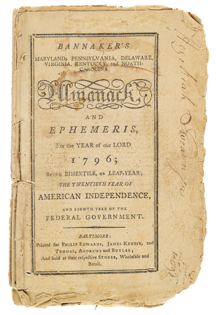 title page for Bannaker's Almanac, which also reads, the twentieth year of American Independence, and the eighth year of the federal government.