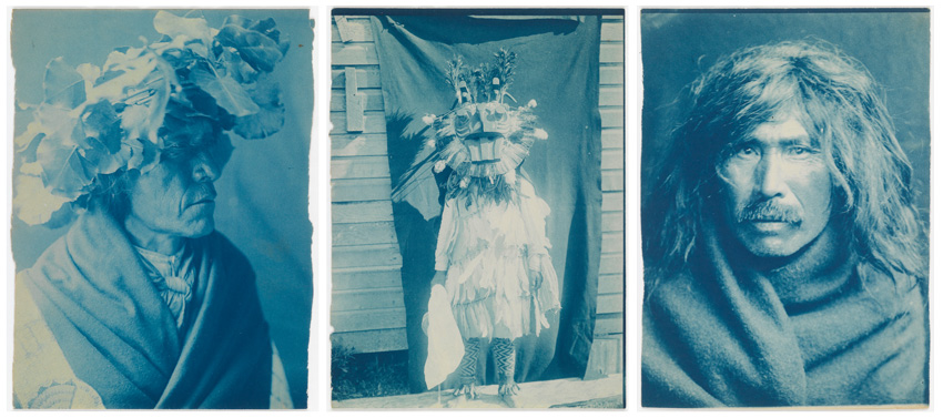 three cyanotype prints of Native American peoples