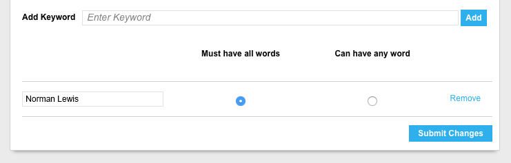 "Screenshot of the keyword alert bar with ""Must have all words"" selected"