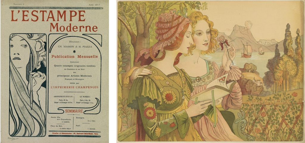Cover image of L'Estampe Modern, poster portfolio, and an image of a lithograph of a poster design featuring two women in medieval clothing.