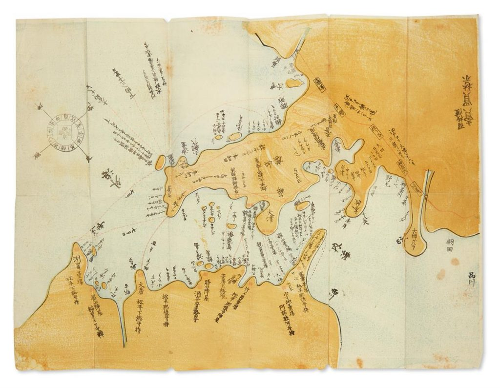 A mao of Uraga and Edo Bay showing the course of Commodore Perry's Black Ship squadron.