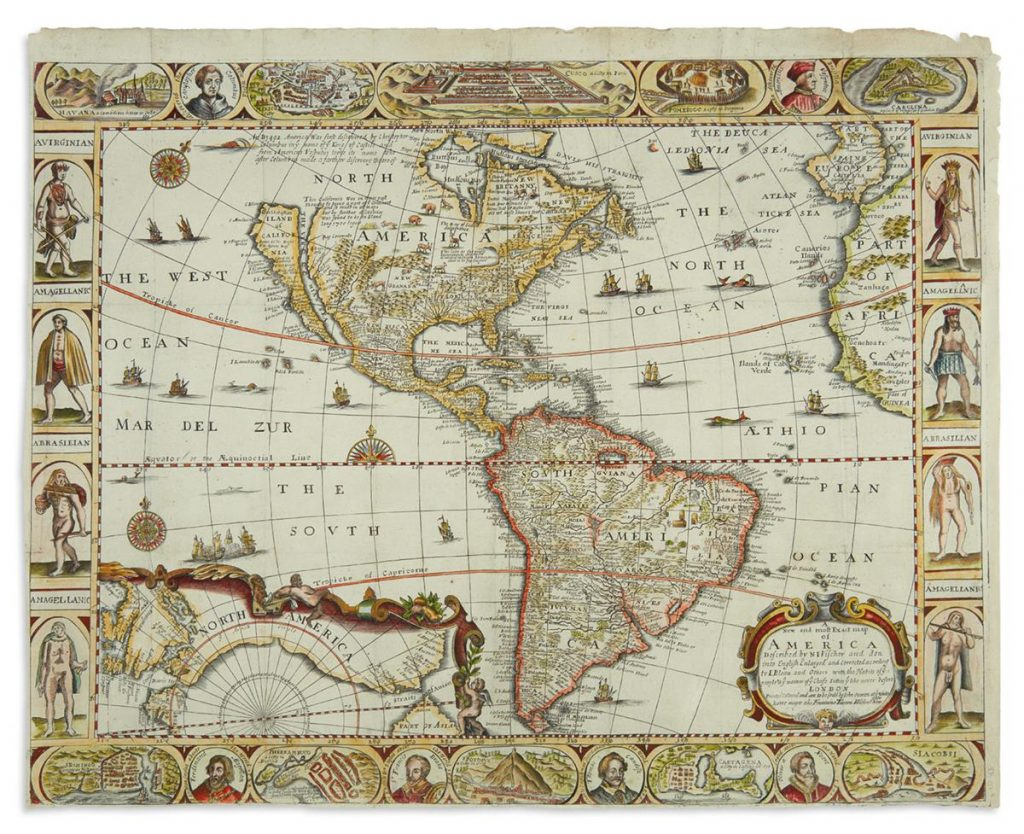 An English map of the Western Hemisphere with elaborately decorated border panels by John Overton.