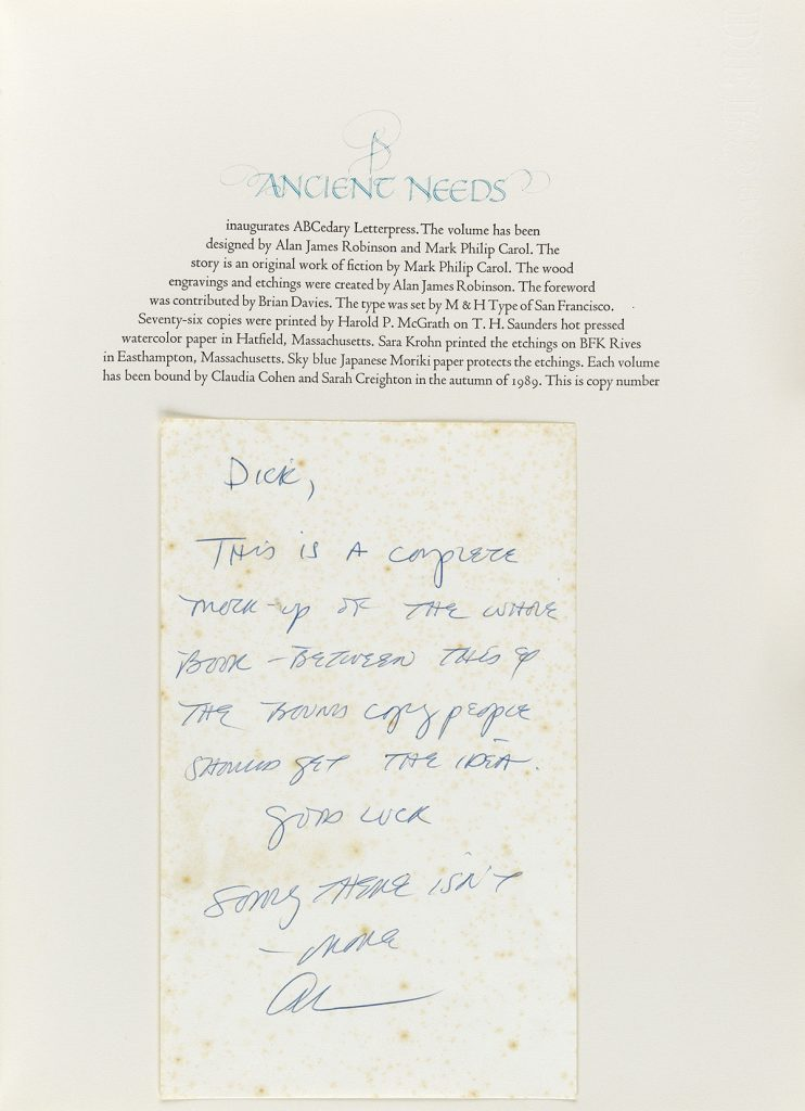 An autograph letter signed from Alan James Robinson to Richard Lee Callaway shown on the title page of the book.