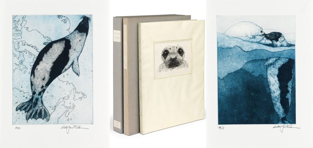 Water color images of seals by Alan James Robinson alongside an image of the bindings of the books from ABCendary Letterpress.