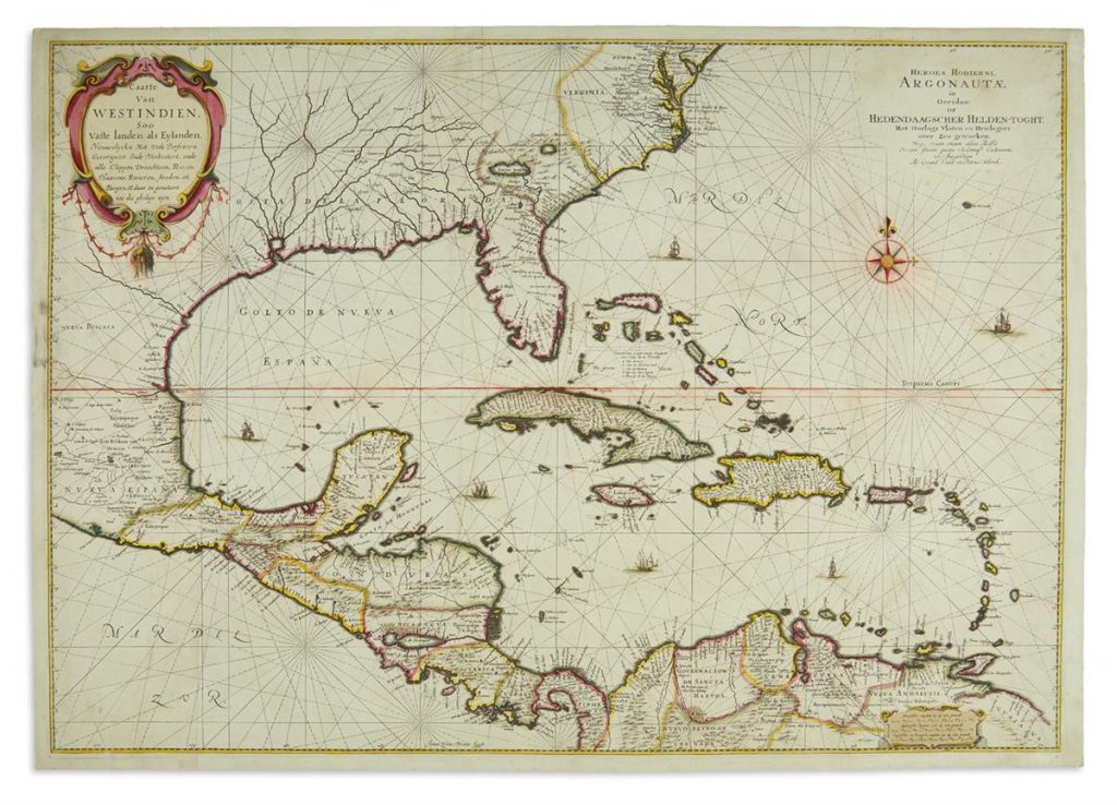 A large engraved chart of Florida, Mexico, Central America and the Caribbean by Joan Vingboon.
