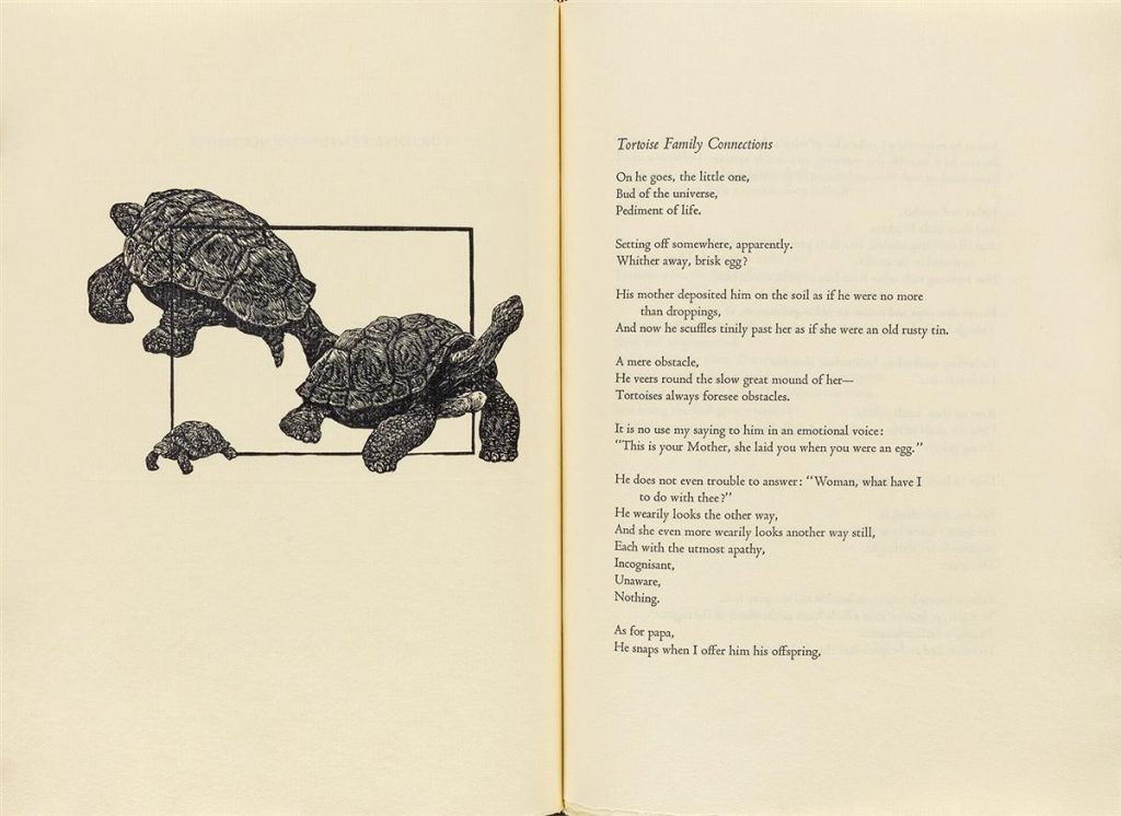 "Two page spread featuring an engraving of three turtles by Alan James Robinson on the left and the poem ""Tortoise Family Connections"" by D.H. Lawrence on the right. Published by the Cheloniidae Press"