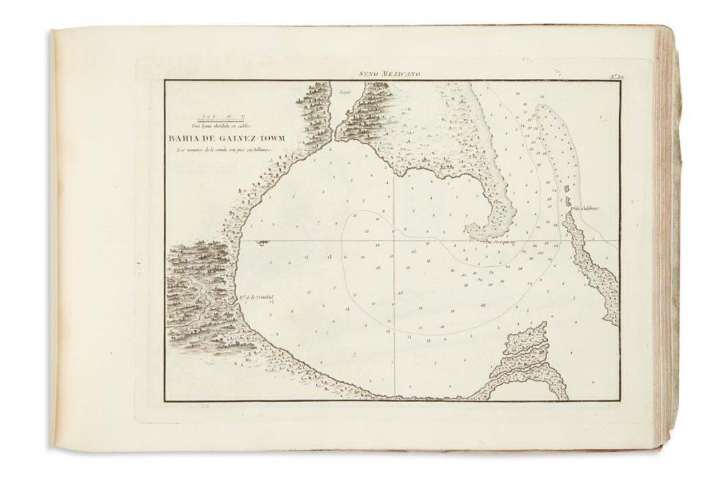 An image from a rare Spanish atlas of the earliest printed chart of Galveston Bay, Texas.