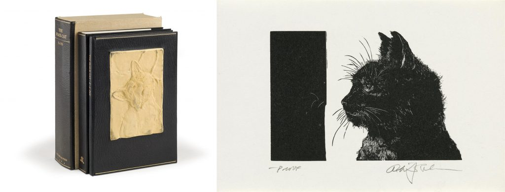 The Black Cat by Edgar Allan Poe with illustrations by Alan James Robinson, published by the Cheloniidae Press. Image of the bindings of the book and an illustration of the black cat.