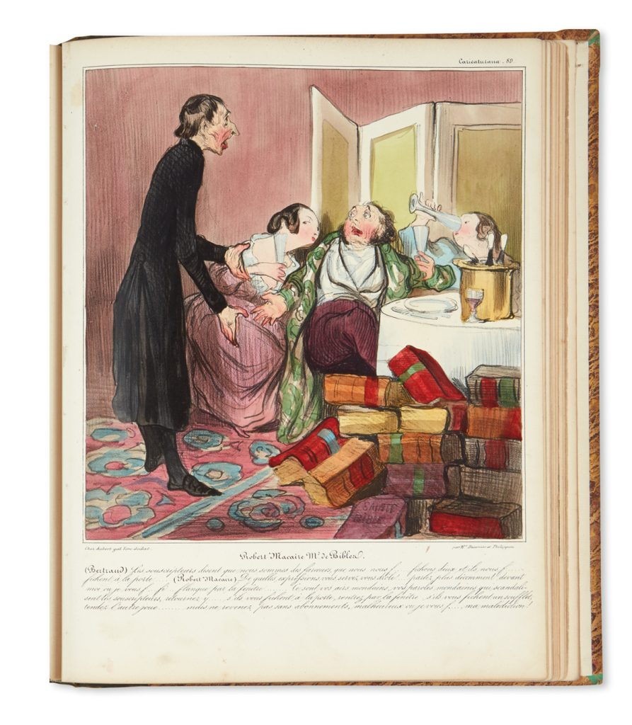 Image from Honoré Daumier and Charles Philipon's Caricaturana publication. The image features three wealthy people drinking champaign surrounded by books while a woman in black scolds them.