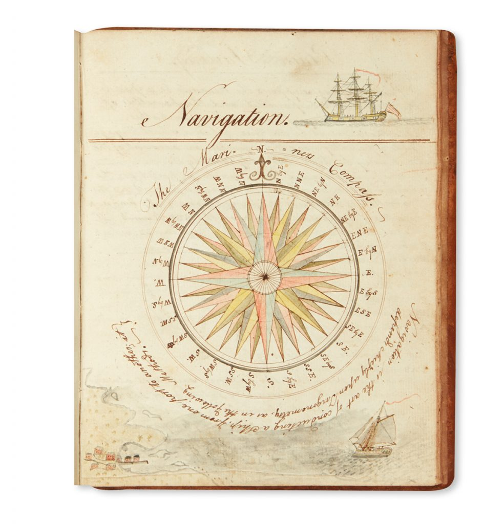 An illustrated compass from William Greene's manuscript ciphering book.
