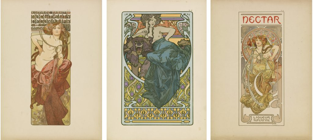 Three images of Art Nouveau women in Documents Décoratifs by Alphonse Mucha. Poster portfolio.