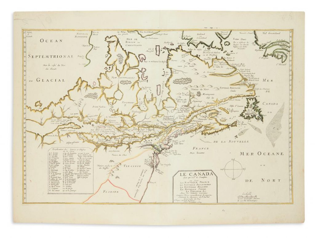 A map of Samuel de Champlain's later discoveries in Canada.