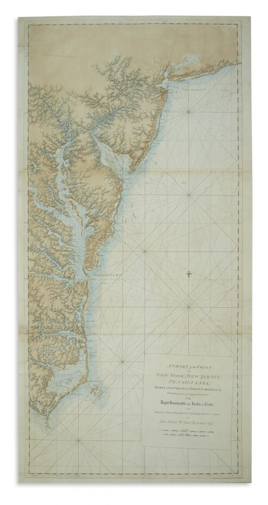 A map of the eastern coast of the United States by Joseph Frederick Wallet Des Barres.