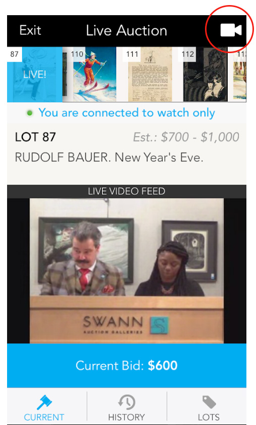 Screenshot of the live bidding room.