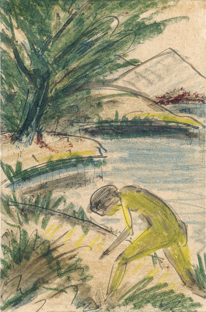Watercolor on postcard paper of a man by a body of water by Otto Mueller.