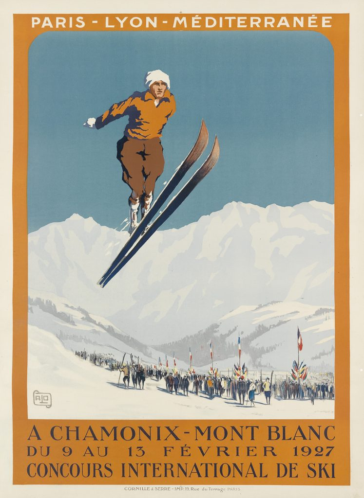 A poster of a skier mid-jump by Alo (Charles Hallo).
