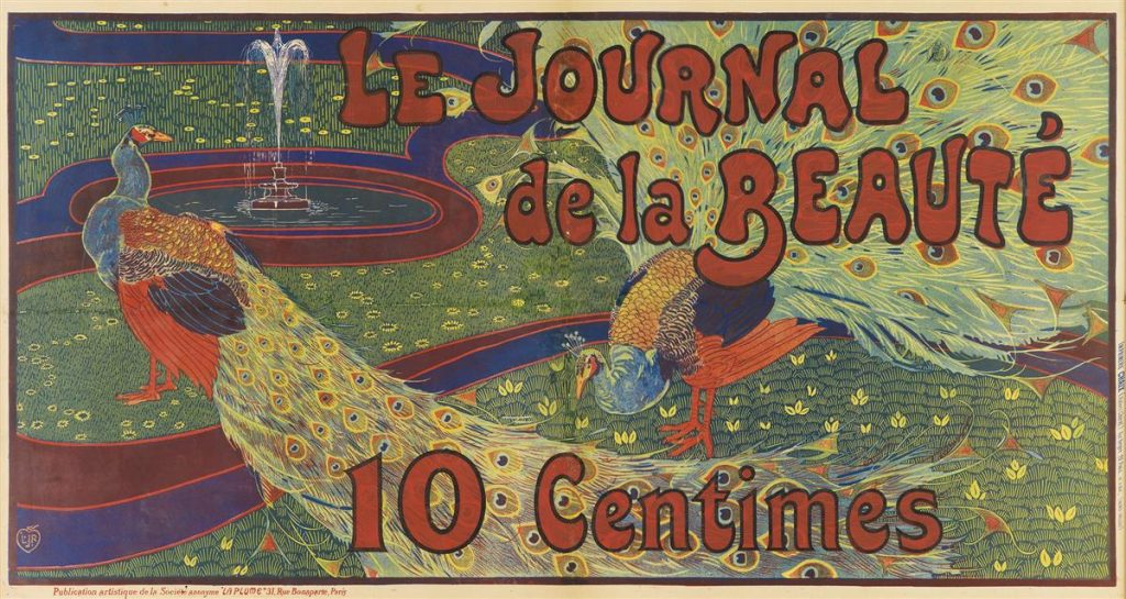 Louis J. Rhead's poster for Le Journal de la Beauté. Featuring colorful peacocks.