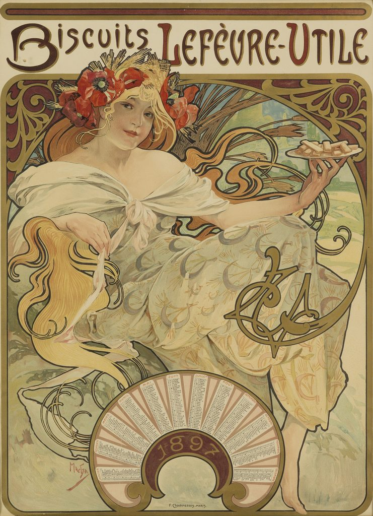 Alphonse Mucha's Art Nouveau image of an advertisement for Biscuits Lefèvre-Utile.