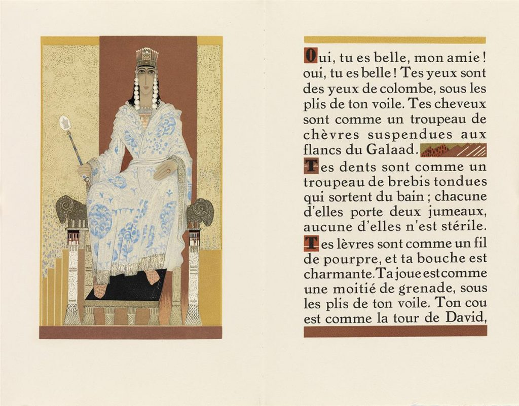 "A spread from François-Louis Schmied's ""Le Cantique des Cantiques,"" featuring a King on the left side and text on the right."
