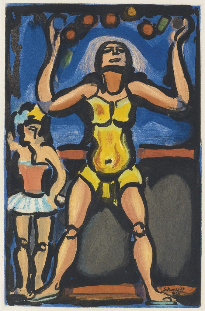 Color aquatint of a man juggling by Georges Rouault from Cirque de l'Étoile Filante.