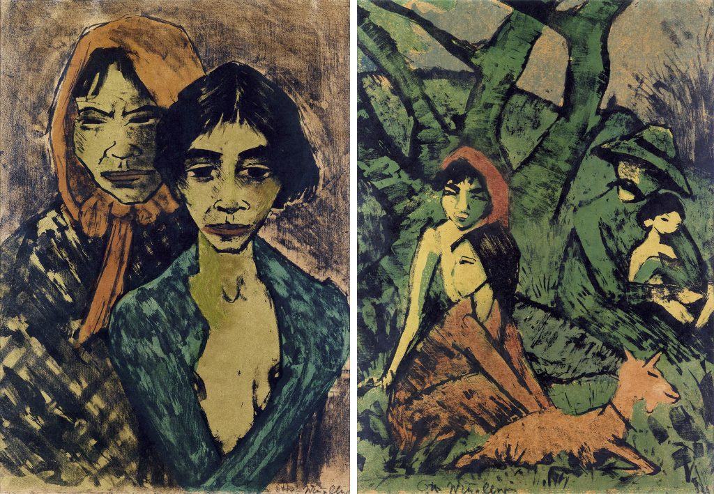 Right image: a portrait of two woman. Left image: a portrait of a family and a dog sitting next to a tree. Both by Otto Mueller