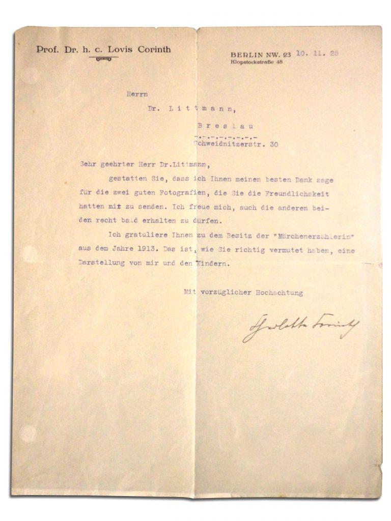 Charlotte Berend-Corinth, wife of Lovis Corinth, correspondence to Ismar Littmann, 1925.
